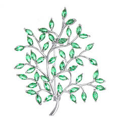 Брошка - Мальовнича гілка (Сріблястий із зеленим)