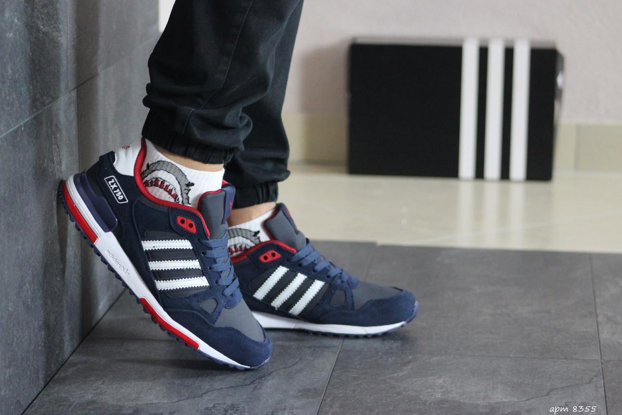 Мужские кроссовки Adidas ZX 750 (сине-белые)