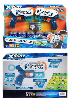 X-Shot Набор скорострельных бластеров EXCEL Double Pulse 2 вида оружия, (6 банок, 8 патронов) 40*6*27см, фото 2