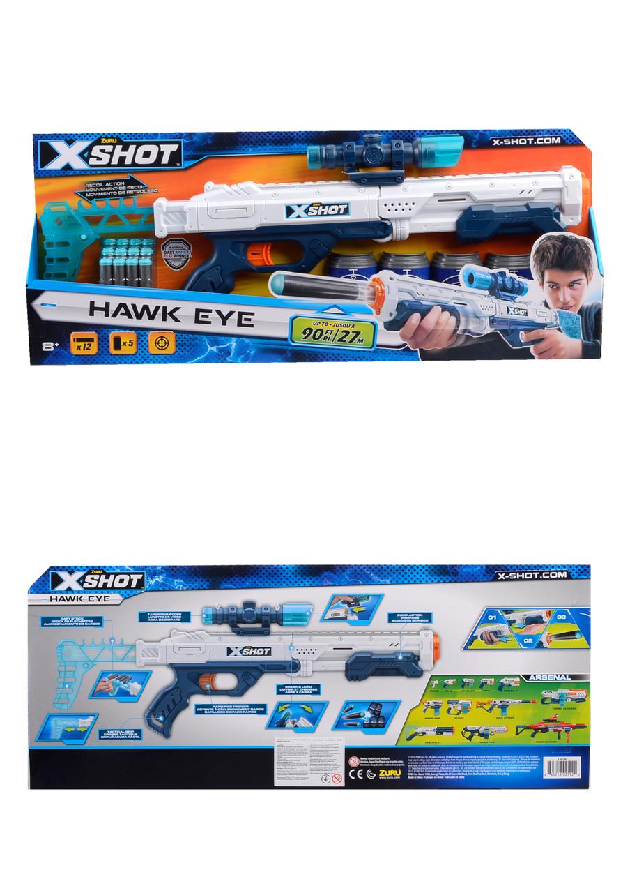 X-Shot Скорострельный бластер EXCEL Hawk Eye (12 патронов, 5 банок) 60*6*24см