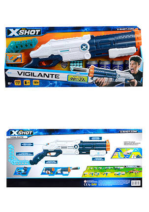 X-Shot Скорострельный бластер EXCEL Vigilante (4 банки, 12 патронов) 70*6,5*26см, фото 2