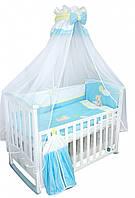 """Детский постельный комплект """"Медвежонок с шариком"""" голубой 8 элементов"""