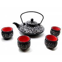 Сервиз керамический (чайник 900мл, h-7см, d-19см;4 чашки, h-5,5см, d-5,5см)(35х20,5х6,5 см)A