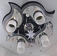 Люстра потолочная Космос с цветной Led подсветкой и автоматическим отключением с пультом (19х53х53 см.) Черный, хром YR-5521/41