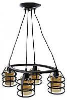Люстра потолочная подвесная в стиле Loft (лофт) (35х43х65 см.) Черный матовый YR-11897/4
