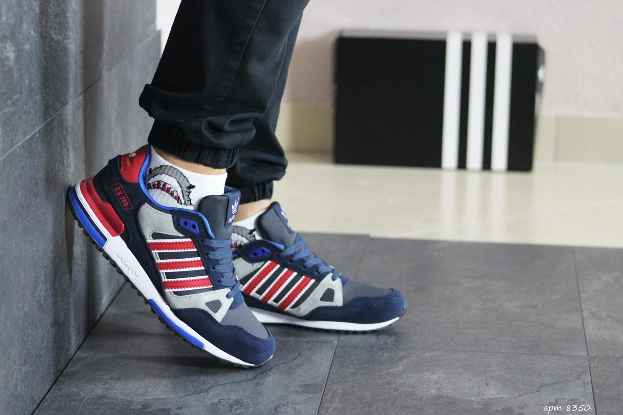 Мужские кроссовки Adidas ZX 750 (сине-красные)