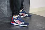Чоловічі кросівки Adidas ZX 750 (синьо-червоні), фото 2