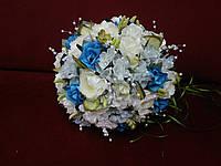 Свадебный букет-дублер из пион и роз молочный с бирюзовым