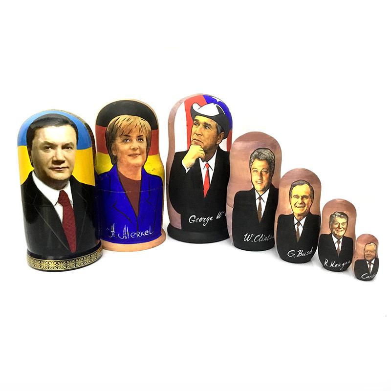 Матрешка русская деревянная Политики 5 в 1