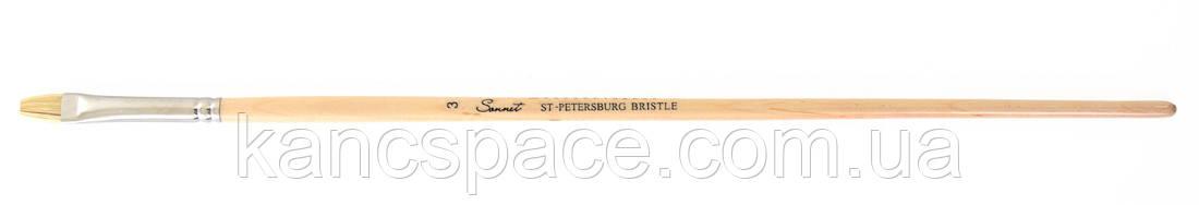"""Пензель щетина """"Сонет"""" овальна, довга ручка, покрита лаком, № 3, шир. 7 мм"""