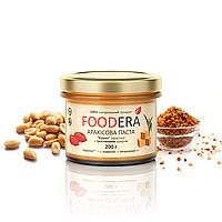 Арахисовая паста FOODERA с тростниковым сахаром (кранч) хрустящая с кусочками арахиса