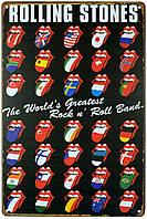 """Металлическая / ретро табличка """"The Rolling Stones (Величайшая В Мире Рок-н-Ролльная Группа)"""""""