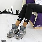 Женские ботинки серого цвета, из эко замши, фото 2