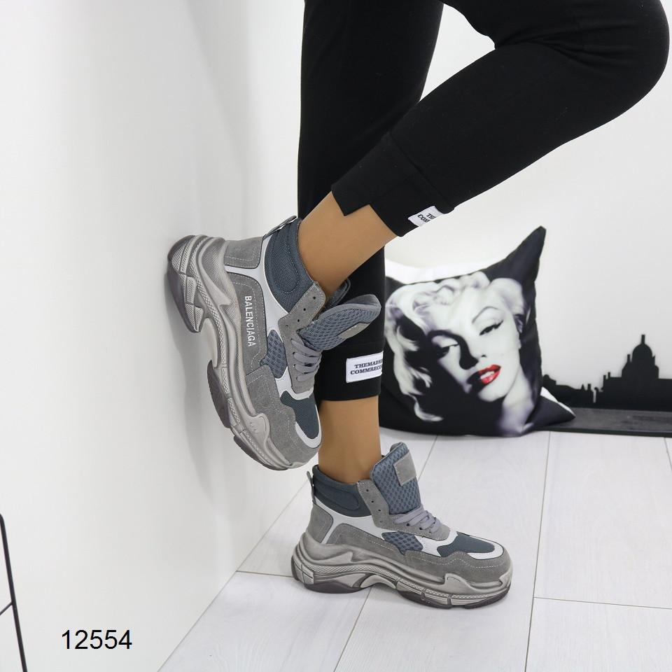 Женские ботинки серого цвета, из эко замши