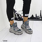 Женские ботинки серого цвета, из эко замши, фото 3