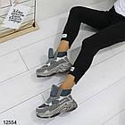 Женские ботинки серого цвета, из эко замши, фото 4