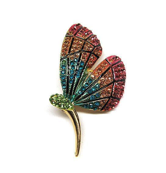 Брошь в виде Бабочки цветная с кристаллами
