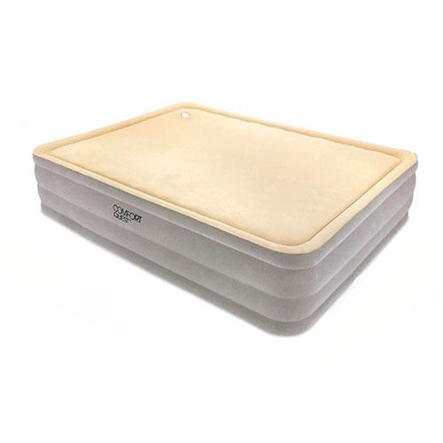 Надувная велюр кровать Bestway с встроенным насосом 203х152х46 см (67486)