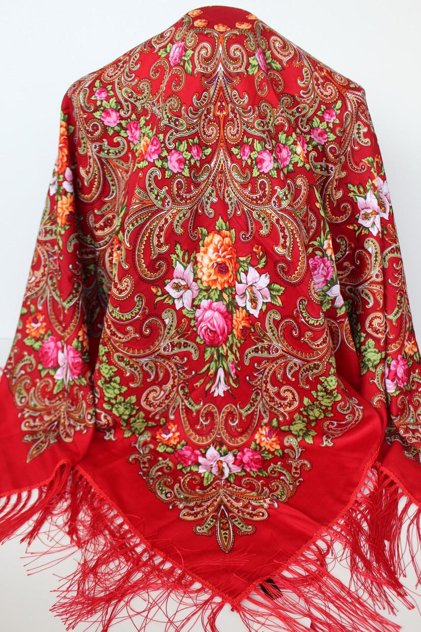 Платок красный в народном стиле (611001)
