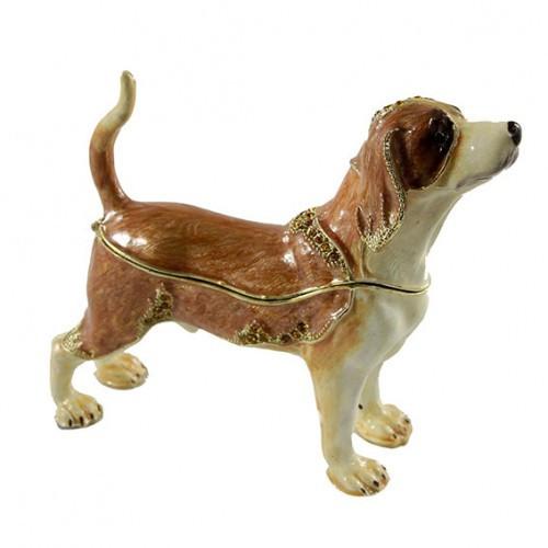 Сувенирная шкатулка со стразами Собака