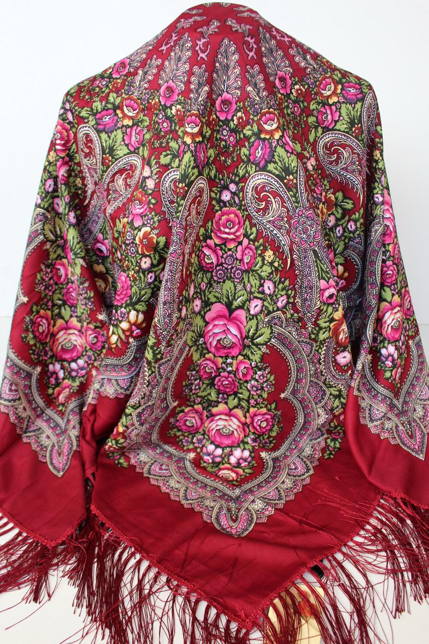 Платок бордовый в народном стиле (611008)