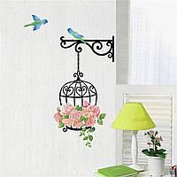 """Наклейка на стену """"Клетка и птицы"""". Наклейка интерьерная для декора и дизайна."""