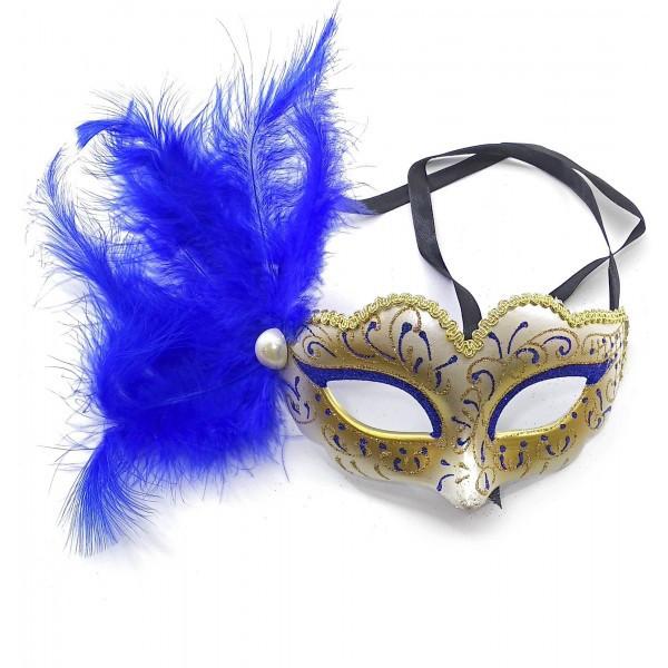 Карнавальная маска с синим пером