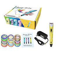 3D-ручка Dewang X2 Yellow с Набором ABS Пластика 160 метров (16 цветов) и Аксессуары