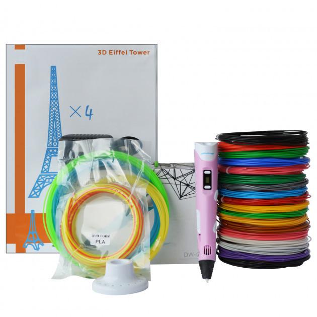 3D-ручка Dewang X2 Pink с Набором ABS Пластика 240 метров (16 цветов) и Аксессуары