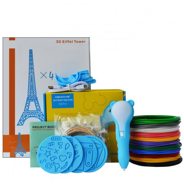 3D-ручка Dewang D8 Blue с Набором PCL Пластика 60 метров (12 цветов) и Аксессуары