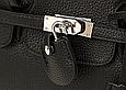 Сумка в стиле Хермес Биркин 35см | Гермес Биркин серебристая фурнитура Черный, фото 9