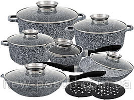 Набор посуды с мраморным покрытием 14 предметов Edenberg EB-8040