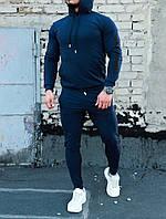 Мужской качественный спортивный костюм Admiral с лампасами и капюшоном синего цвета