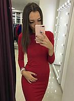 Повседневное приталенное платье (цвет - красный, ткань - трикотаж) Размер S, M, L (розница и опт)