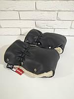 Рукавички-Муфта на коляску Z&D New Еко кожа (Черный жемчуг), фото 1