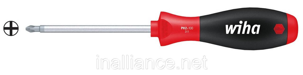 PH0 х 100 мм отвертка хром-ванадий-молибденовая сталь полная закалка SoftFinish Wiha 27756