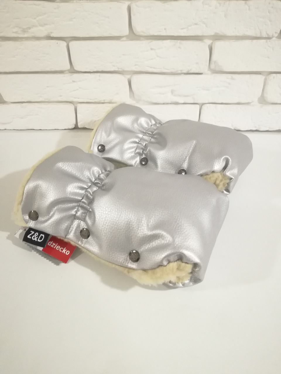 Рукавички-Муфта на коляску Z&D New Еко шкіра (Срібний)