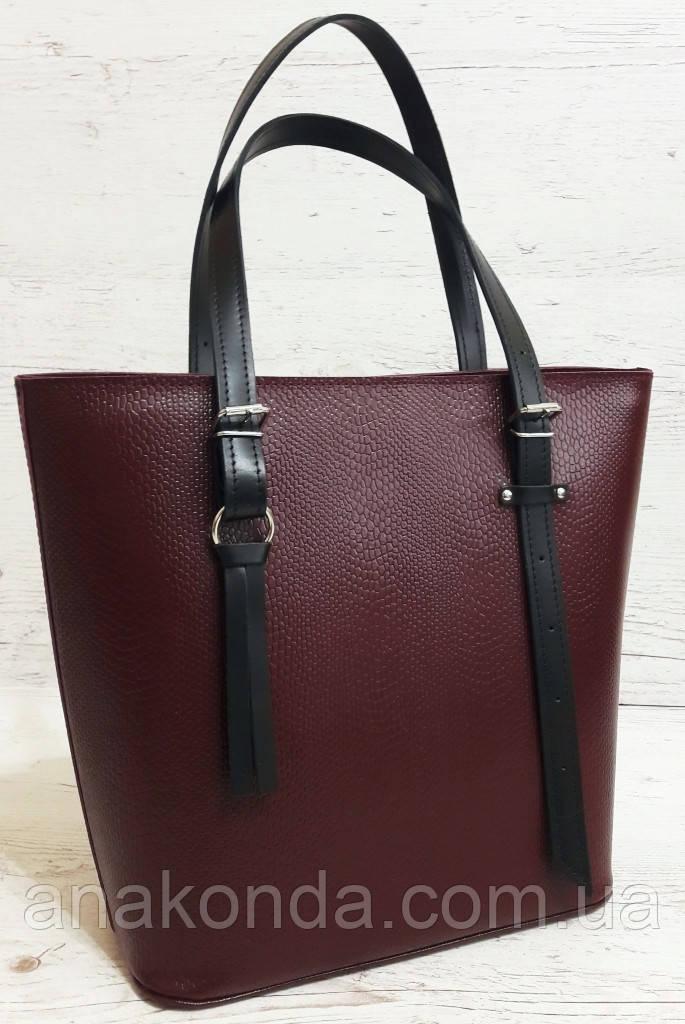 635-к1 Натуральная кожа, Сумка-тоут трапеция женская, сумка бордовая с черными ручками сумка женская кожаная