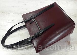 635-к1 Натуральная кожа, Сумка-тоут трапеция женская, сумка бордовая с черными ручками сумка женская кожаная, фото 3
