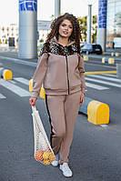 Теплый женский спортивный костюм с начесом принт Леопард 48 50 52 54 56 58 60 62 черный марсала беж