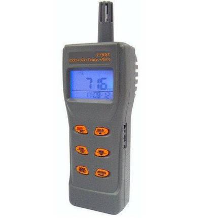 Портативный газовый анализатор/термогигрометр (СО2,СО, RH, T) USB AZ-77597, фото 2