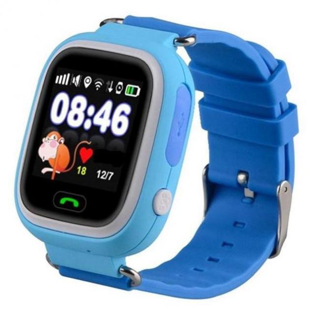 """Детские умные часы ROBOT Q90/Q100 смарт-часы с GPS WiFi 3G 1"""" Голубые (SUN10606)"""