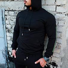 Мужской качественный спортивный костюм Admiral с лампасами и капюшоном черного цвета, фото 2