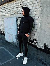 Мужской качественный спортивный костюм Admiral с лампасами и капюшоном черного цвета, фото 3