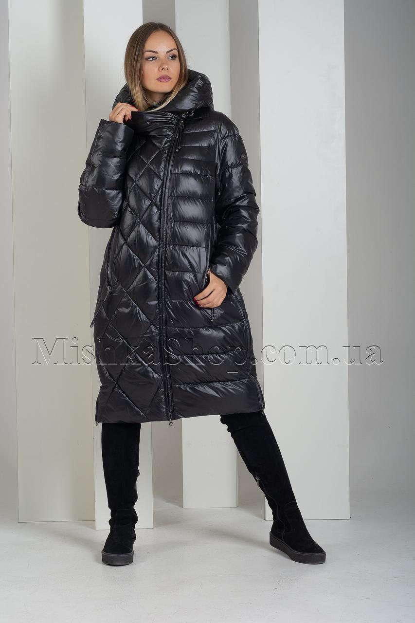 Модный пуховик больших размеров с необычной комбинацией прострочки Deify 19-29 чёрного цвета