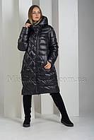 Модный пуховик больших размеров с необычной комбинацией прострочки Deify 19-29 чёрного цвета, фото 1