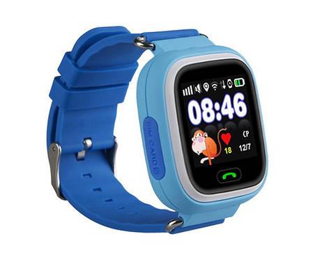 Детские смарт-часы Q100 с GPS Голубые, фото 2