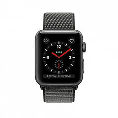 Apple Watch Series 3 GPS + Cellular 42mm Space Gray Aluminum Case with Dark Olive Sport Loop (MQKR2)