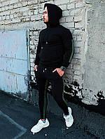Мужской качественный спортивный костюм Admiral с лампасами и капюшоном черного цвета