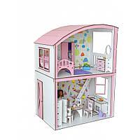 Домик для кукол Уютная Вилла Барби с мебелью, обоями и  текстилем Высотой 69 см 2 этажа 2 комнаты